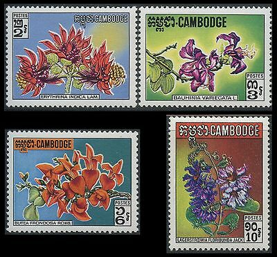 CAMBODGE N°264/267** Fleurs sauvages , 1971, CAMBODIA Wild Flowers Set MNH