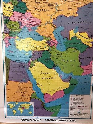 Pull Down School Map of the Middle East U.S. Vintage, Salvage, Old, Antique.