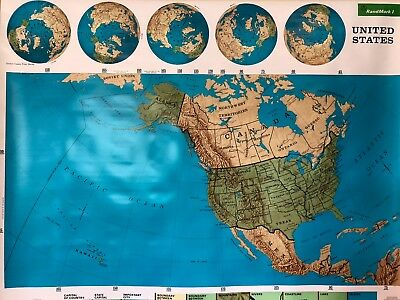 Pull Down School Map of The United States Vintage, Salvage, Old, Antique.
