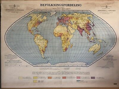 Vintage Pull Down Map CLOTH 1 Layer World Vintage, Salvage, Antique.