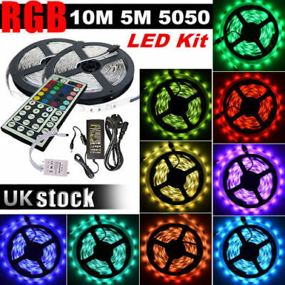 3528 5050 5M 10M 15M 20M SMD 300 Leds LED Strip Tape Roll RGB DC 12V Adapter Kit