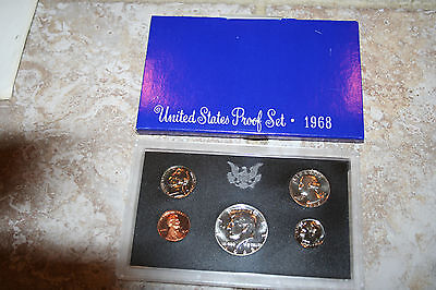 1968 US Mint Proof Set 40% Silver Kennedy Half Dollar 5 Coins Free Shipping 4542