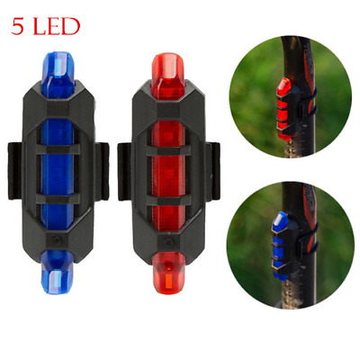 Bike Bicycle 5LED USB Rechargeable Cycling Warning Tail Light Rear Safety Lamp