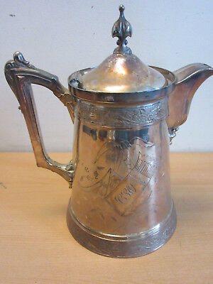 Antique Victorian Aesthetic Wilcox quadruple silver plate insulated pitcher