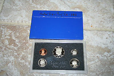 1983 US Coin Proof Set 5 Coin Set Kennedy Half Birth Year Rare Free Shipping 055