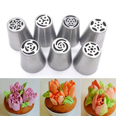 7 Pcs Russian Tulip Icing Piping Nozzles Decoration Tips Pastry Baking Tool