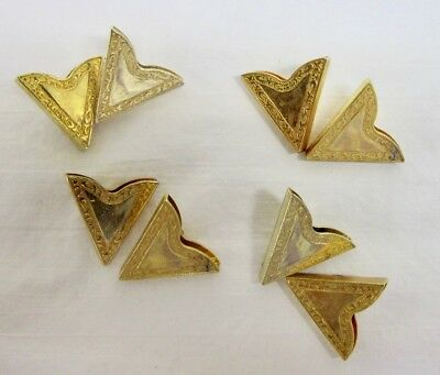 4 Pair of Vintage Gold Color Metal Western Shirt Collar Tips Total 8 Tips