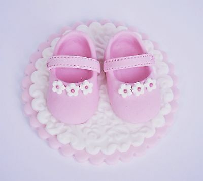 Edible baby shoes / booties Christaening cake  topper. Edible shoes