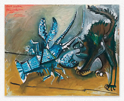 Pablo Picasso Lobster and Cat 73x92 cm STAMPA TELA CANVAS PRINT TOILE LIENZO
