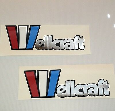2 Wellcraft custom Chrome lettering decals Marine Vinyl set
