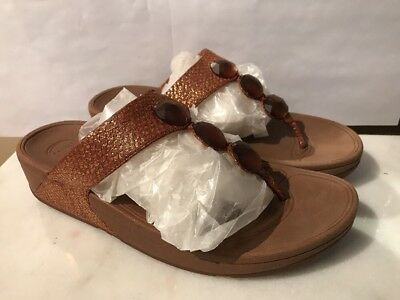 aab2343c38d70 FITFLOP PETRA WOMENS Sparkling Gold Brown Leather Jewel Sandals Thongs Shoes  9 -  19.99