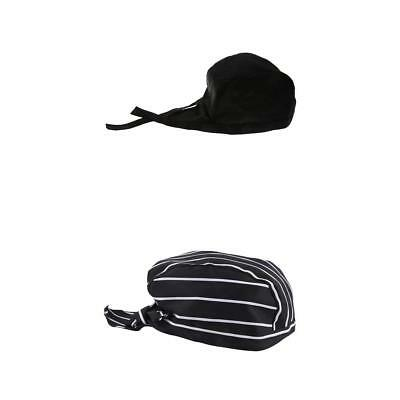 2 Pieces Catering Kitchen Cook Baker Waiter Cap Hat Chef Headwrap Skull Cap