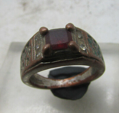 Lovely Post Medieval Bronze Ring With Stone Inserts