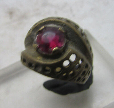 Beautiful Post Medieval Brass Ring With Faceted Insert