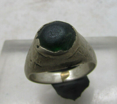 Beautiful Post Medieval Silvered Brass Ring With Insert