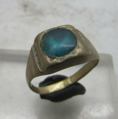 Nice Post Medieval Silvered Bronze Ring With Stone Insert