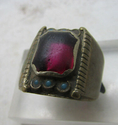 Post Medieval Bronze Ring With Stone Inserts