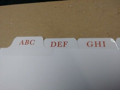 100 Sets A-Z, 8th Cut, Red Printing, 3 Hole Reinforced Binding Edge, $1.09/ set