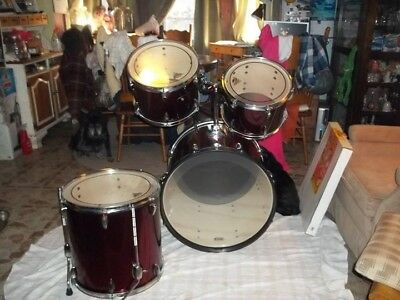 Tama Drum Set Red And Brown Full Kit 361 00 Picclick