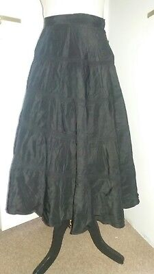 Original Vintage 40s 50s Black Grosgrain Silk Skirt  8-10