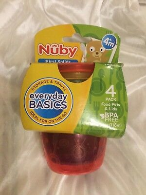 Nuby 4 Food Pots & Lids / Perfect For Baby Food / Snack / Storage / Travelling