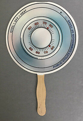 Paper Advertising Hand Fan Public Utility Commission of Texas Thermostat