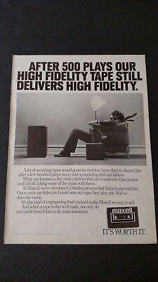 Maxell High Fidelity Tape Delivers (1980) Rare Original Print Promo Poster Ad
