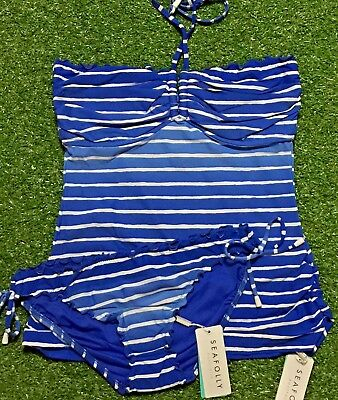 3c54348f27 New Seafolly Miami Stripe Lapis DD Cup Singlet & Hipster Pant - Size AU12 /  US8