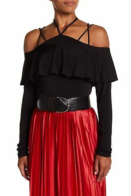 2ce5db3dfbc8a The Vanity Room NEW Black Womens Large L Cold-Shoulder Popover Knit Top  98  115