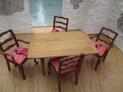 Dollhouse Miniatures Handmade Table By Gary Larson with 4 Native American Seats