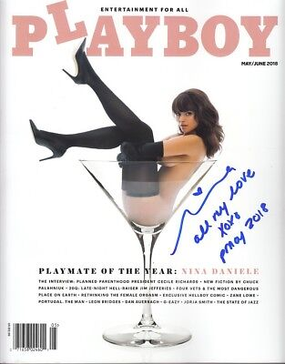 NINA DANIELE signed auto autographed May/June 2018 Playboy inscribed PMOY proof