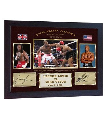 Lennox Lewis Mike Tyson Boxing Autograph poster signed print photo Framed
