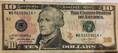 2013 $10 DOLLAR BILL US Bank STAR ✯ NOTE NEW YORK FEDERAL RESERVE MB 01559016 ✯
