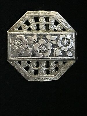 Antique Victorian Ornate Octagon Beautiful  Silver Tone VTG Floral Brooch Pin
