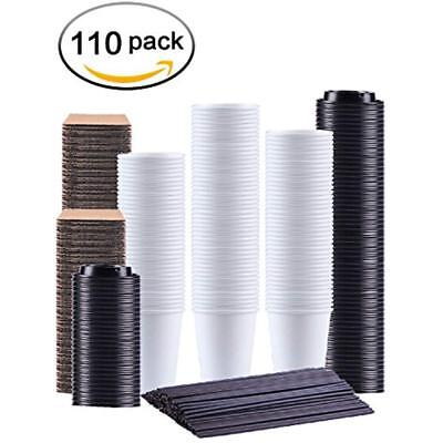 Kindpack Disposable Cups Coffee 12 Oz,110 Count,With Lids Sleeves And White Hot