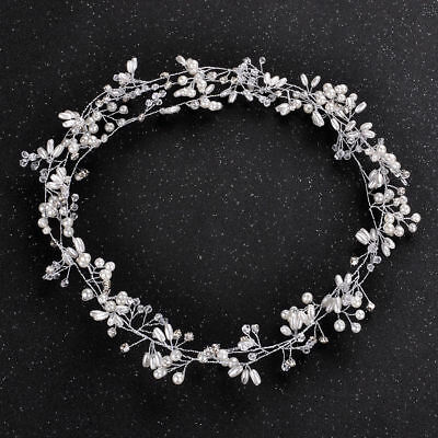 Wedding Hair Vine Bridal Accessories Crystal Pearl Headband Chain Headpiece KU