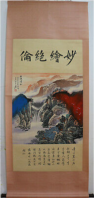 Excellent Chinese 100% Handed Painting & Scroll Landscape By Zhang Daqian 张大千 B5