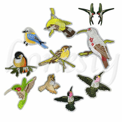 2PCS Birds Patches Embroidery Sew On Iron On Patch Clothes Applique DIY Craft