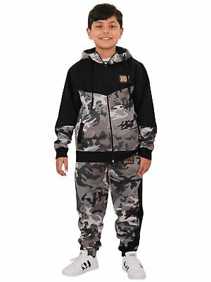 Kids Boys Girls Designer's A2Z Camouflage Contrast Tracksuit Hooded Top & Bottom
