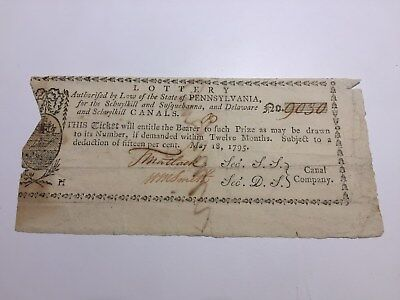 1795 Pennsylvania Canal Lottery Ticket Timothy Matlack Declaration Independence