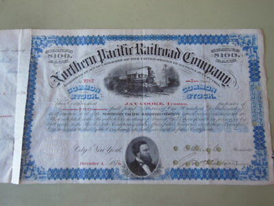 Jay Cooke Autograph - Northern Pacific Railroad Stock Issued and Signed