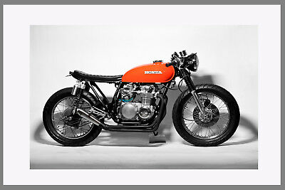A0 A1 A2 A3 A4 poster print Motorbike Honda Vintage Cafe art  Racer Red