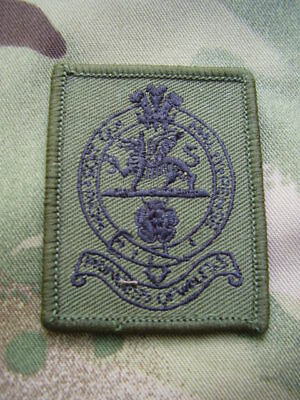 British Army PWRR Cap/Beret Badge On Olive Green TRF Combat Shirt/Jacket Patch