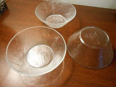"Coca Cola clear glass embossed bottle salad bowls 6 1/4"" (3)"