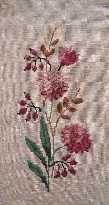 """Vintage completed cotton needlepoint tapestry flowers on off-white 8.7""""x17"""""""
