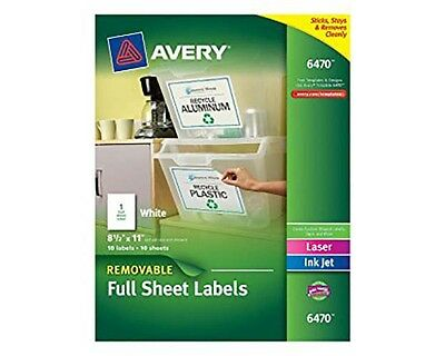 "Avery 6470 Full Sheet White (Removable)  Labels 8 1/2"" x 11"" Pack of 10"
