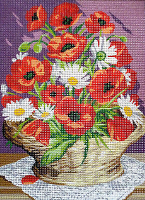 Royal Paris Preprinted Canvas Tapestry - Poppies in Basket