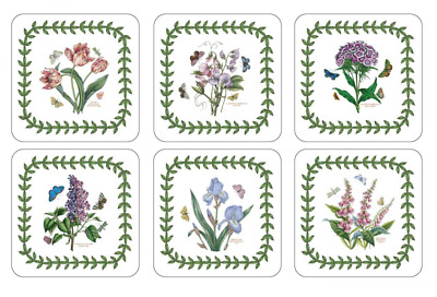 Botanic Garden Coasters Portmeirion Set of 6 Pieces 4.25 Inches In Square Shaped