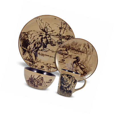 MOSSY OAK ANIMAL Print 16 Piece Dinnerware Set - $69.99 | PicClick
