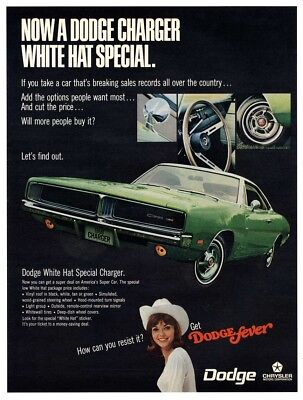 1969 VINTAGE AD - Dodge Charger White Hat Special on America's Super Car - A9